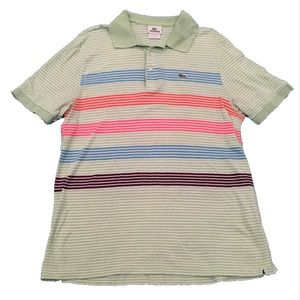 Lacoste Multi Color Stripe Polo Size 6 (Large)